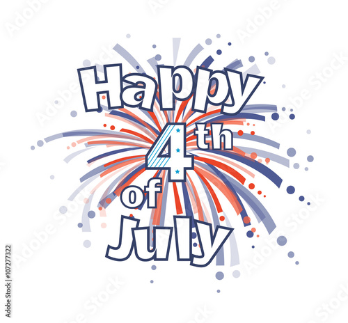 Fotografia  Fourth of July Fireworks - Happy 4th of July clip art with red and blue firework