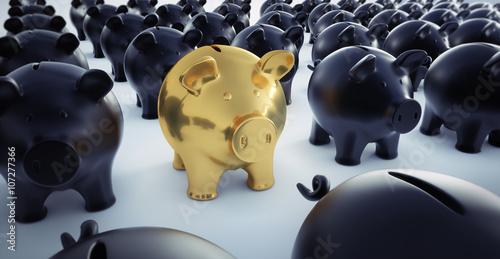 Fotografía  Goldenes Sparschwein in Menge Schwarzer