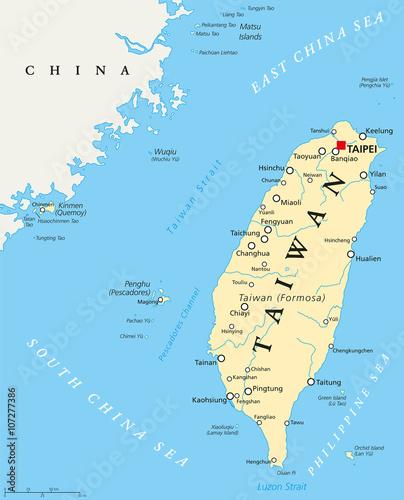 Taiwan, Republic of China, political map with capital Taipei ...