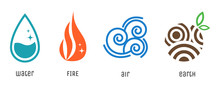 Four Elements Flat Style Symbols. Water, Fire, Air And Earth Signs. Vector Abstract Nature Icons.