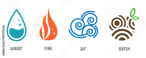 Valokuva  Four elements flat style symbols