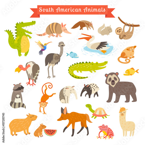 Foto op Aluminium Zoo Sourth America animals vector illustration. Big vector set. Isolated on white background. Preschool, baby, continents, travelling, drawn