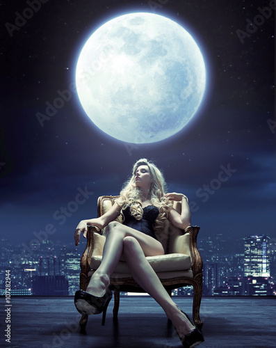 Printed kitchen splashbacks Artist KB Sensual woman relaxing under the moon light
