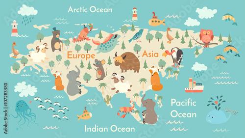 Animals world map eurasia vector illustration preschool baby animals world map eurasia vector illustration preschool baby continents oceans gumiabroncs Images