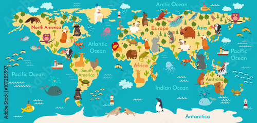 Animals world map vector illustration preschool baby continents animals world map vector illustration preschool baby continents oceans drawn gumiabroncs Images