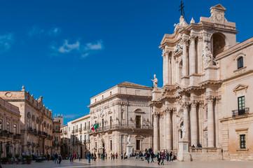 Piazza del Duomo u Ortigiji; Sirakuza; Sizilien; Italien