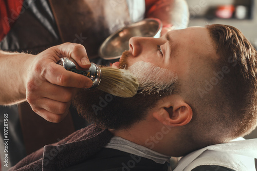 Bearded Man In Barbershop Fotobehang