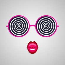 Hypnotising Glasses And Pink Lips