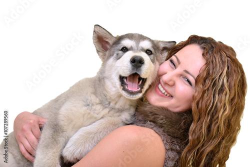 femme avec chien Wallpaper Mural