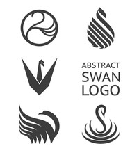 Vector Set Of Swan Logo. Logotype For Business.
