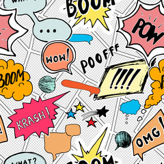 Tapeta Seamless pattern background with handdrawn comic book speech bubbles, vector illustration