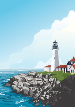 Historic Portland Head Light In Cape Elizabeth, Maine, USA