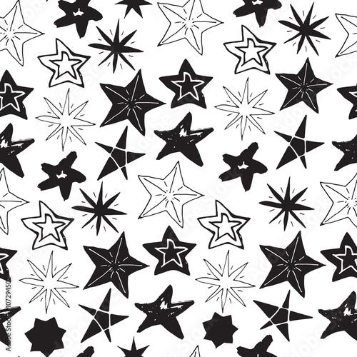 Fototapeta Star sketch Doodles seamless pattern, hand drawn vector illustration obraz na płótnie