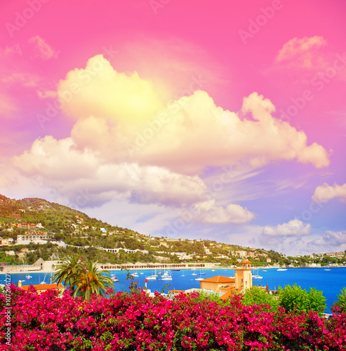 Aluminium Prints Candy pink Mediterranean sea landscape fantastic sunset sky. French riviera