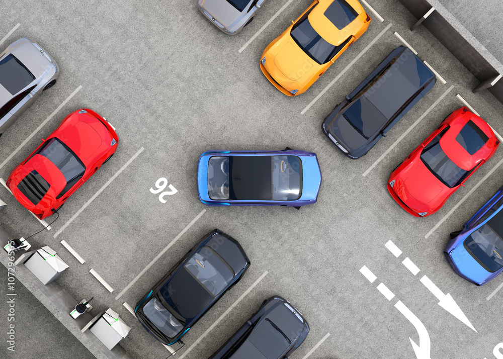 Fototapeta Aerial view of parking lot. Half of parking lot available for EV charging service. 3D rendering image in original design.