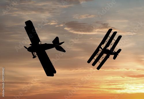 World War One Aircraft in a dogfight Fototapeta