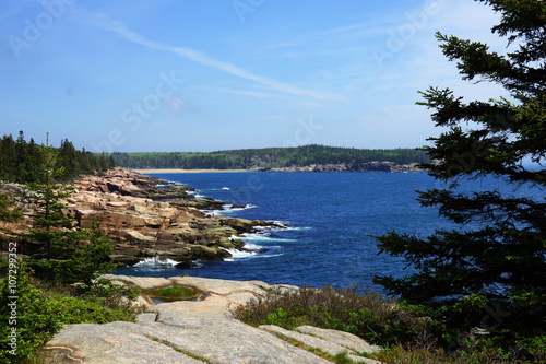 Fotografie, Obraz  Shoreline view with boulders and surf breaking over with blue water and bright sky and coniferous forest on the background
