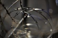 Closeup Barb Razor Wire Fence ...