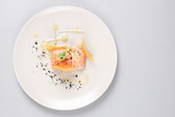 Smoked salmon and sauce cooked by molecular gastronomy technic - 107301921