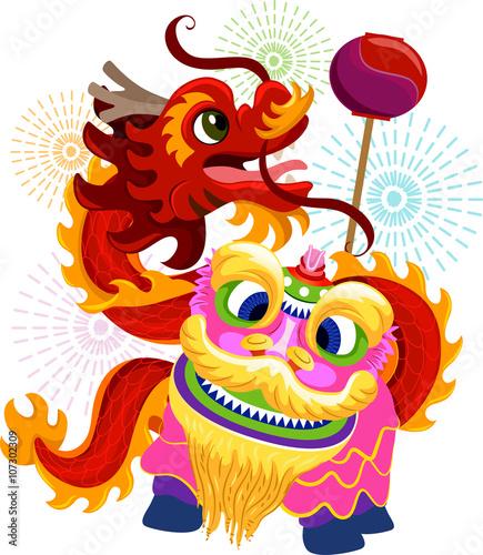Photo  Chinese New Year Lion Dragon Dance