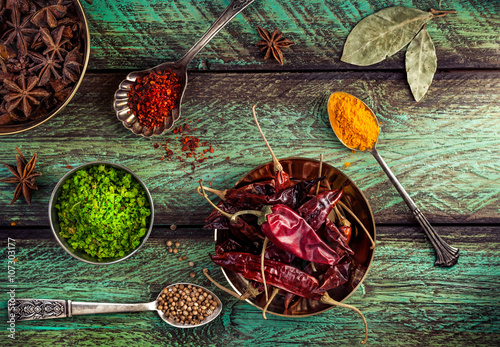 Spices at the green table Canvas Print