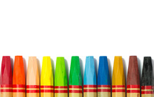 Colorful Crayon In A Row