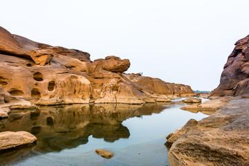 Fototapeta na wymiar Thailand grand canyon (sam pan bok) at Ubon Ratchathani, Thailan