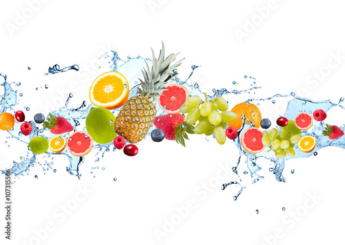 Foto auf Leinwand Wasserfalle Fresh fruits falling in water splash, isolated on white background