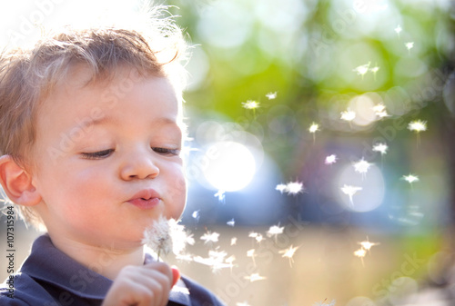 obraz lub plakat happy smiling child playing with dandelion outdoor in a garden