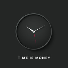 Icon Of Black Clock Face With Shadow And Message Time Is Money On Dark Wall Background. Vector Illustration
