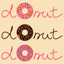 Vector Illustration Of Donut W...