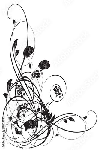 Fotografering  coin vecteur floral