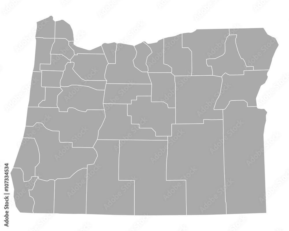 Fototapety, obrazy: Karte von Oregon