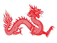 Red Paper Cut Dragon China Zodiac Symbols
