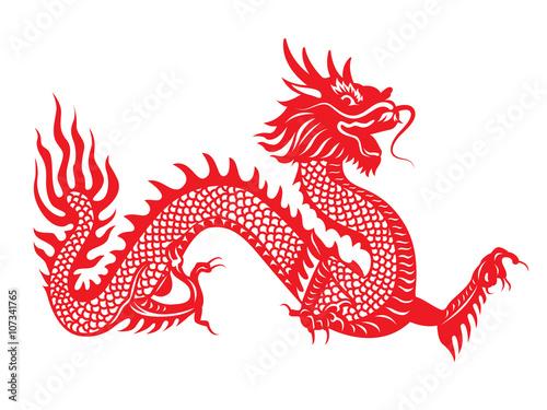Fotografija  Red paper cut Dragon china zodiac symbols