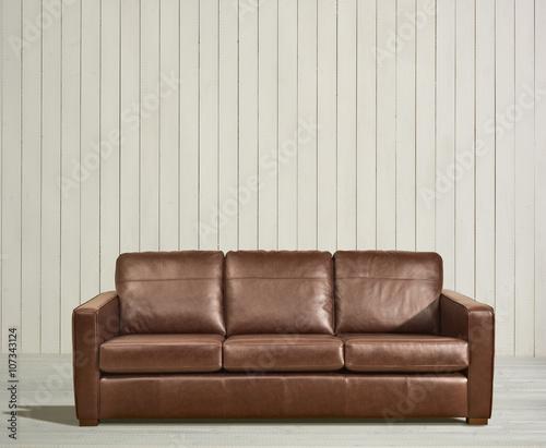 Modern Brown Leather Sofa in Rustic White wood room - Buy ...