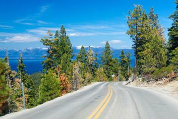 road along Lake Tahoe, USA