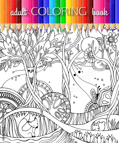 Woodland Animal Coloring Pages For Kids. Hand Drawn On A White ...   500x417