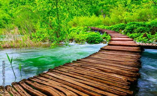 Fototapeta premium Drewniana ścieżka w Parku Narodowym w Plitvice