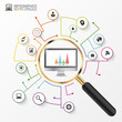 Analysis graphic design concept with magnifying glass. Vector