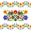 Polski folklor - rozbudowany wzór z kwiatami i kogutami