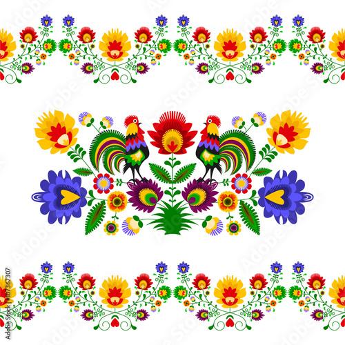 fototapeta na ścianę Polski folklor - rozbudowany wzór z kwiatami i kogutami