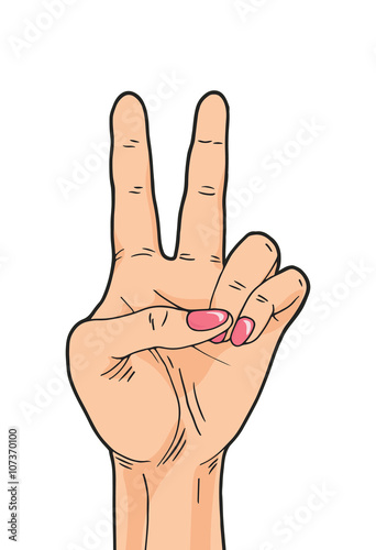 vector peace hand sign isolated on white background comics woman victory hand sign buy this stock vector and explore similar vectors at adobe stock adobe stock vector peace hand sign isolated on