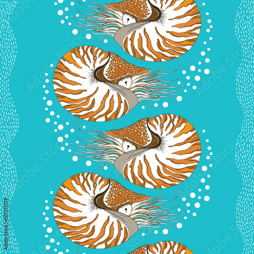 Obraz na plátně  Seamless pattern with Nautilus Pompilius or chambered nautilus on the turquoise background with bubbles and stripes