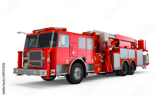 Red Firetruck perspective front view isolated on a white background Poster Mural XXL