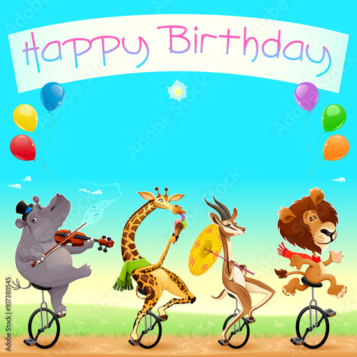 Poster Chambre d enfant Happy Birthday card with funny wild animals on unicycles