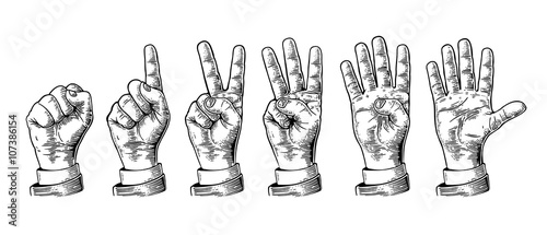 Valokuva  Set of gestures of hands counting from zero to five