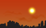 Silhouette of the city at sunset, Vector illustration