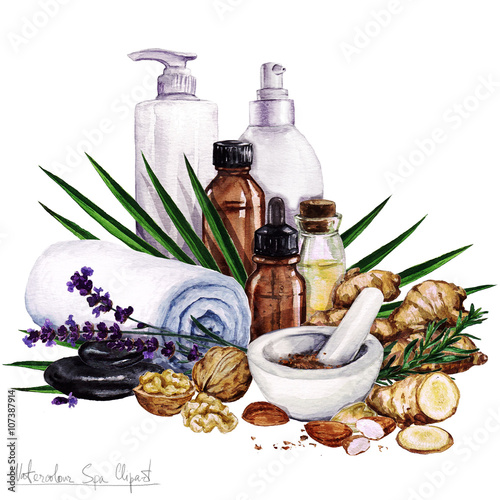 Fotografie, Obraz  Watercolor SPA Clipart - Collection of SPA and Beauty products and elements, iso