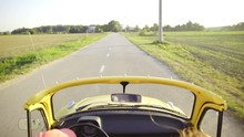 Old Retro Car Driving On Road Very Fast